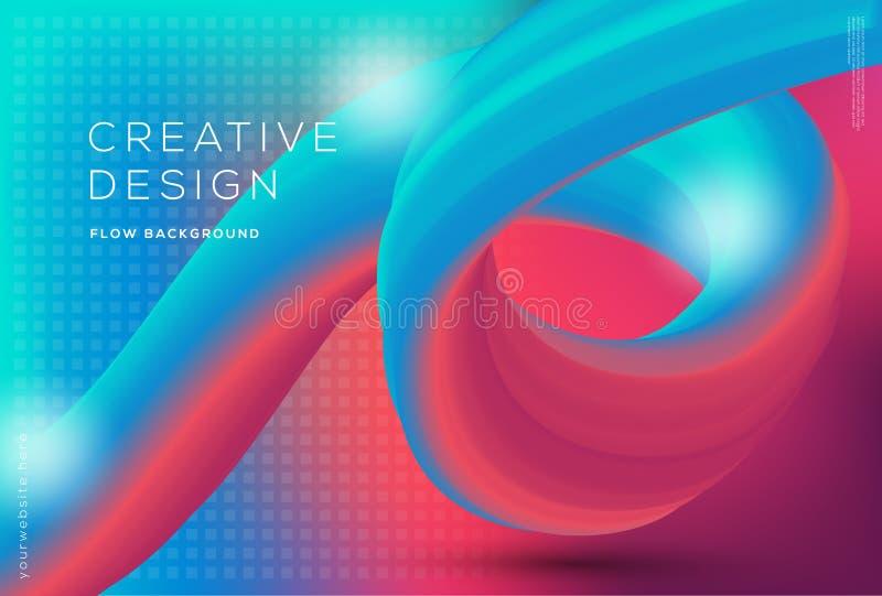 3d kształtów spływowy dynamiczny skład z gradientowym koloru tłem obrazy stock