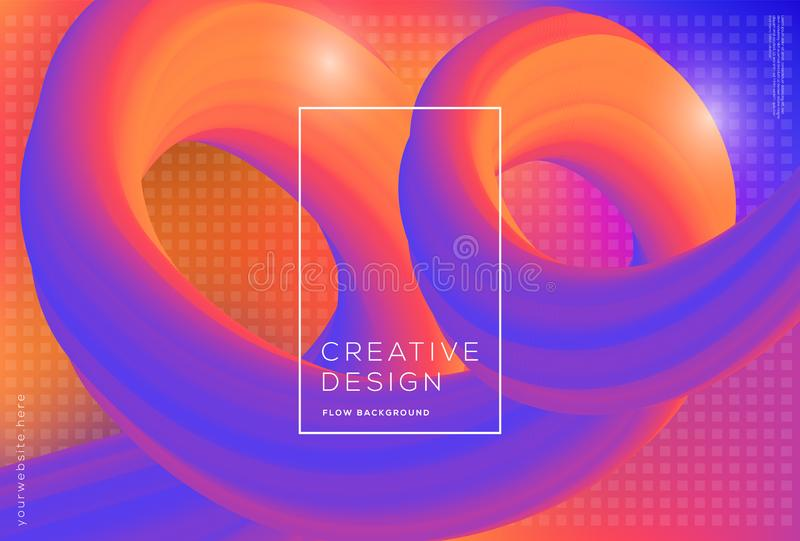 3d kształtów spływowy dynamiczny skład z gradientowym koloru tłem obraz royalty free