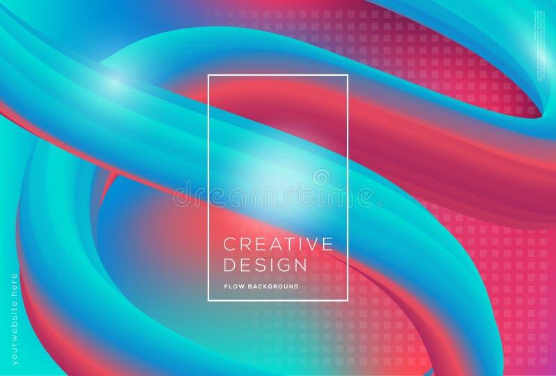 3d kształtów spływowy dynamiczny skład z gradientowym koloru tłem zdjęcia stock