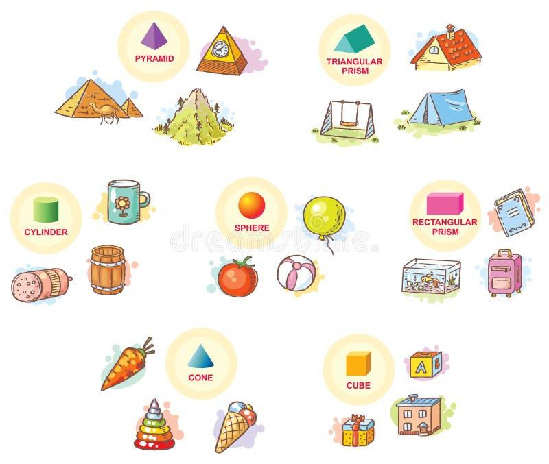 3d kształty z przykładem protestują od życia codziennego royalty ilustracja