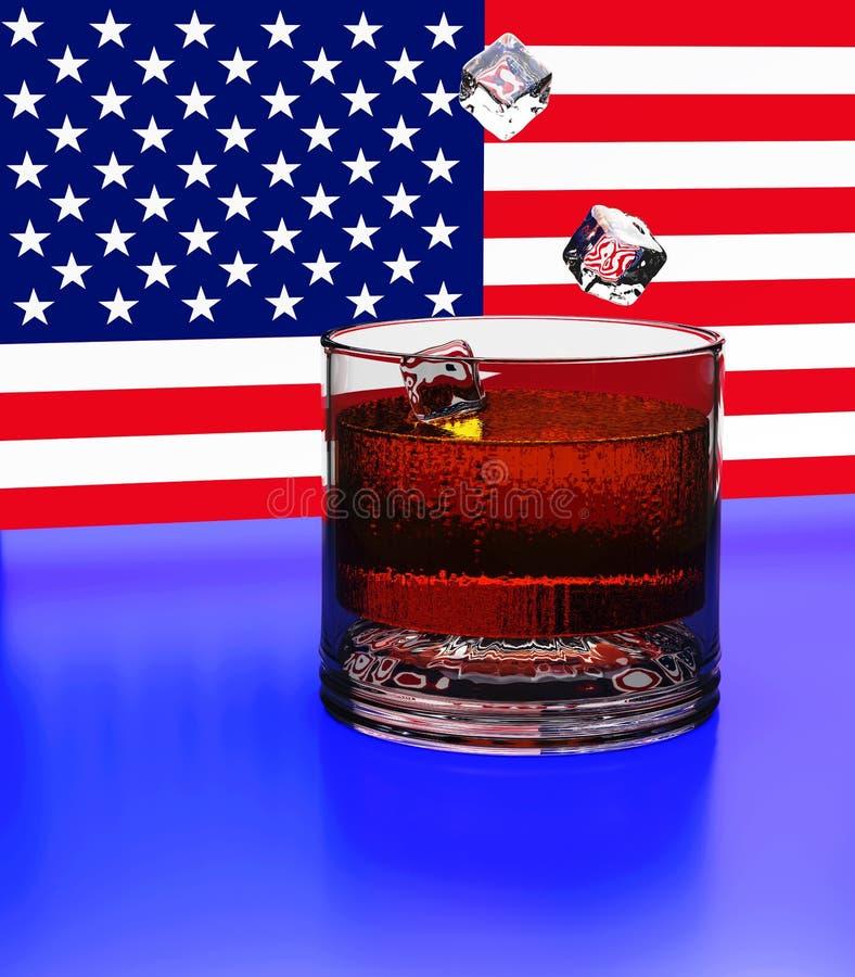 3d Kuber av isnedgången in i ett exponeringsglas med whisky Bakgrunden är ett fragment av USA flaggan Färgstänk skugga, reflexion stock illustrationer