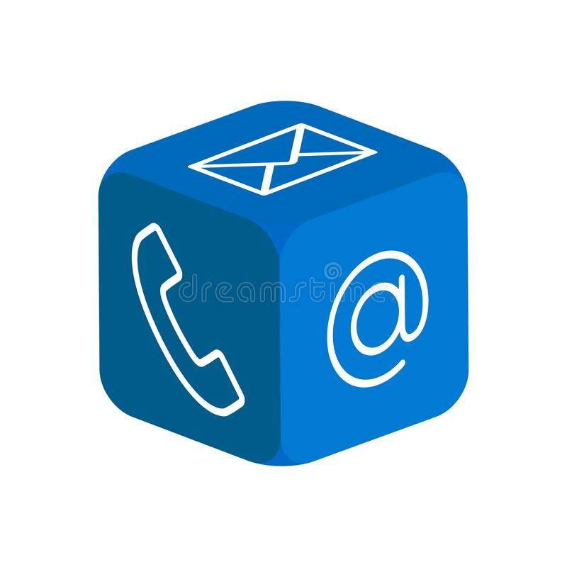 3d kubus - contactpictogrammen royalty-vrije illustratie
