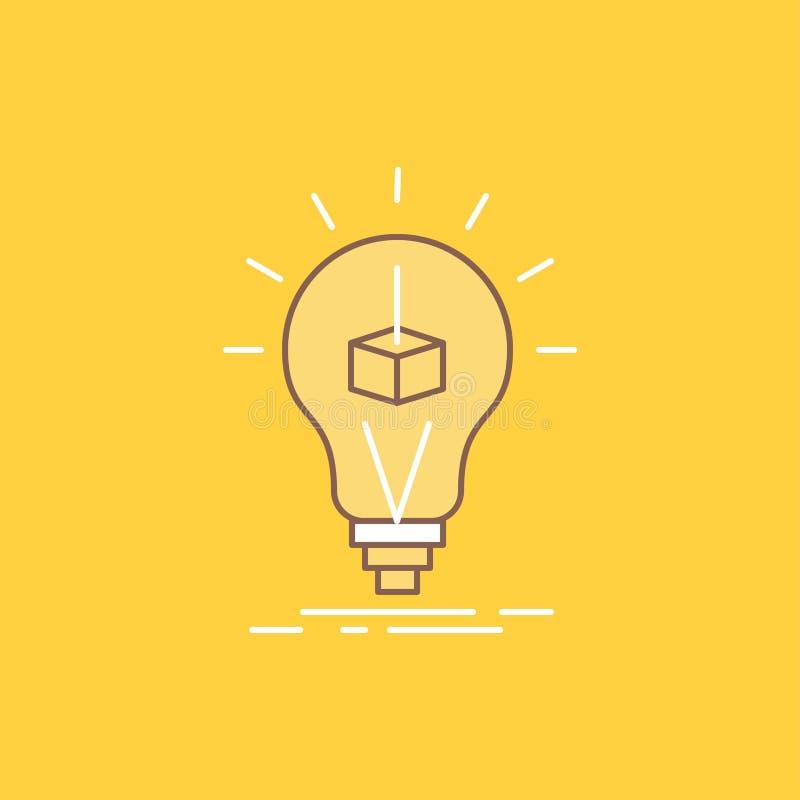 3d Kubus, idee, bol, druk, doos Vlakke Lijn vulde Pictogram Mooie Embleemknoop over gele achtergrond voor UI en UX, website of royalty-vrije illustratie