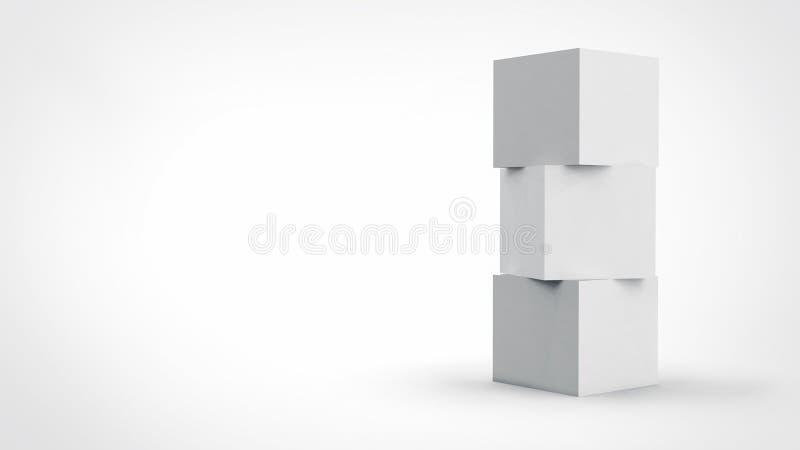 3d kubusdoos geeft op geïsoleerde achtergrond voor het ontwerpmodel en malplaatje van het productpakket terug stock illustratie