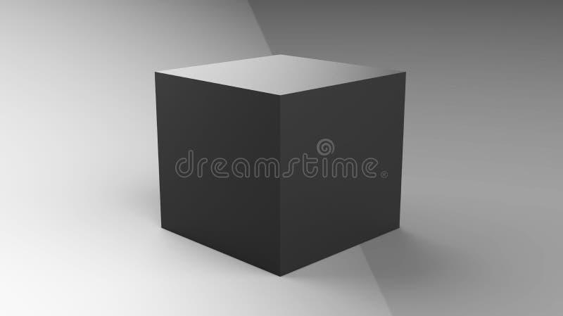 3d kubusdoos geeft op geïsoleerde achtergrond voor het ontwerpmodel en malplaatje van het productpakket terug vector illustratie