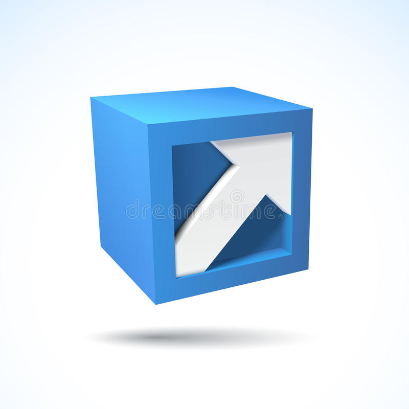 3D kubusembleem met pijl vector illustratie
