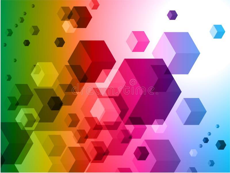 3D Kubussen op Kleurrijke Abstracte Achtergrond royalty-vrije illustratie