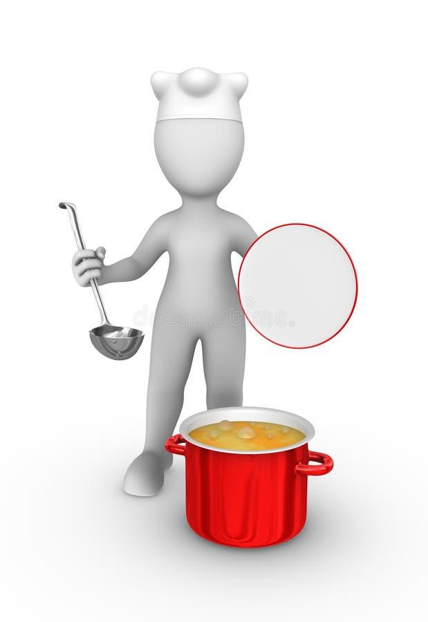 3d kucharz z dużą czerwoną niecką z polewką royalty ilustracja