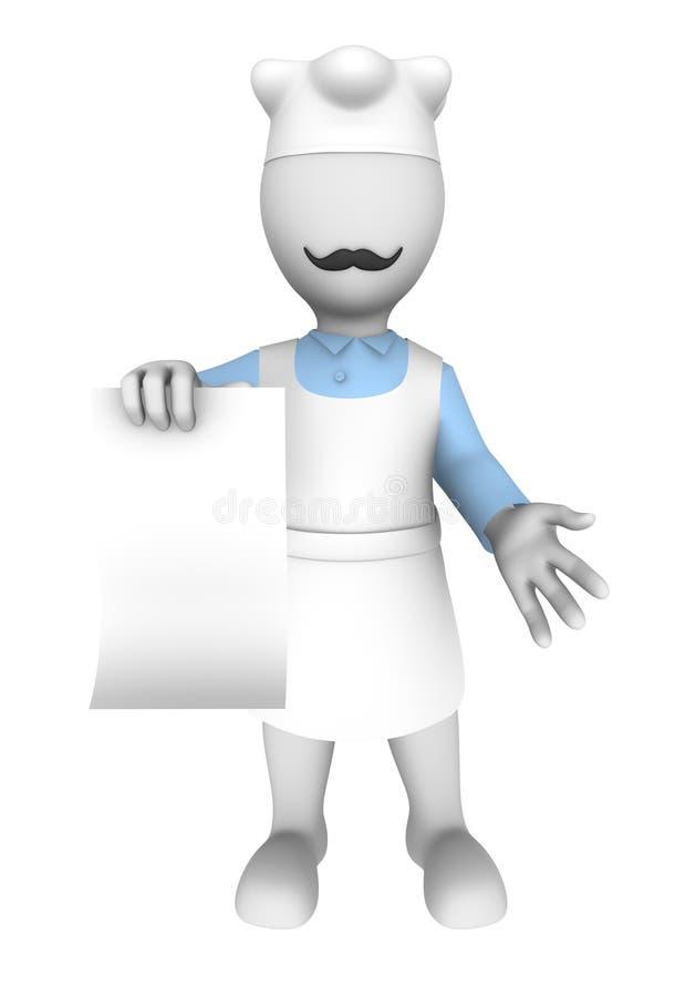 3d kucharz z pustym menu ilustracja wektor