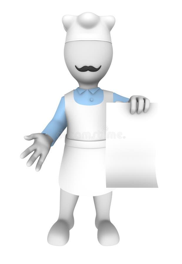 3d kucharz z pustym menu royalty ilustracja