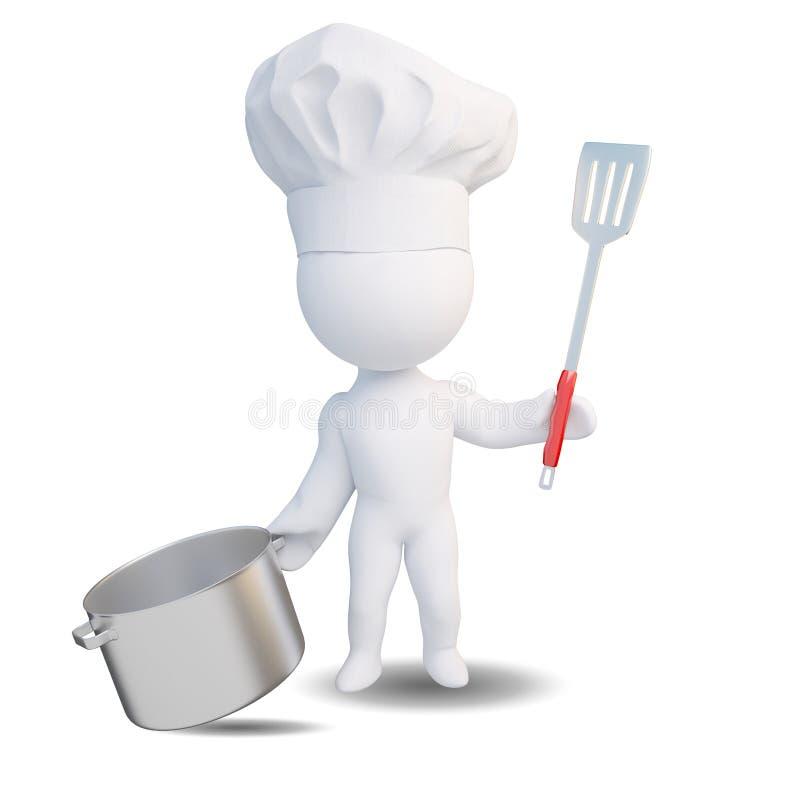 3d kucharza ludzie ilustracji