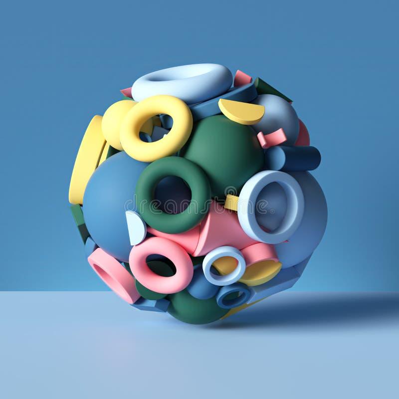 3d kula kombinerad av blandade färgstarka geometriska former isolerade på blå, abstrakt bakgrund, leksaksstapel, primitiva föremå vektor illustrationer