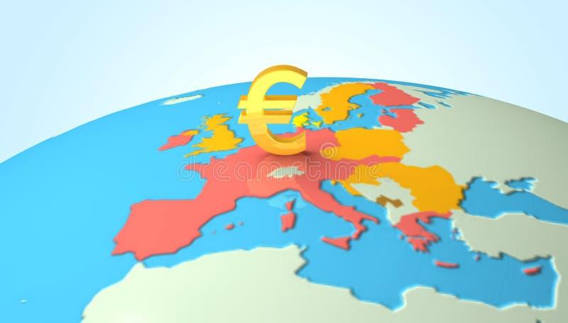 3D kula ziemska z euro symbolem ilustracja wektor