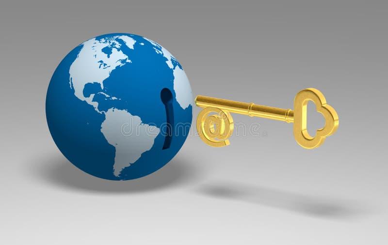 3D kuli ziemskiej klucz royalty ilustracja