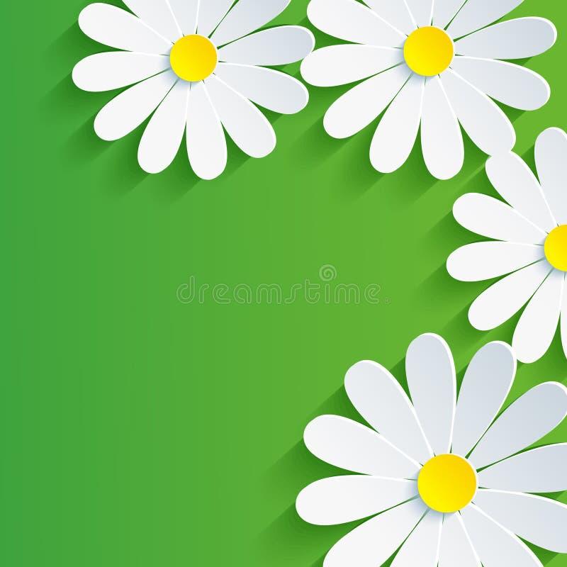 3d kwiatu chamomile, wiosna abstrakta tło ilustracji