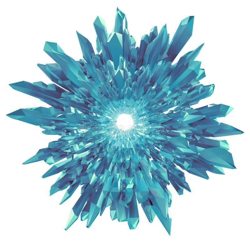 3d kwiatu lub płatka śniegu błękitny krystaliczny kształt odizolowywający ilustracja wektor