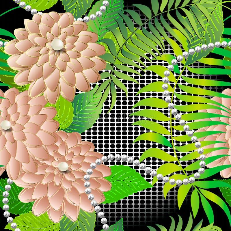 3d kwiecistej biżuterii wektorowy bezszwowy wzór Koronkowy textured gofra tło Różowy powierzchni 3d aster kwitnie z białymi perła ilustracji