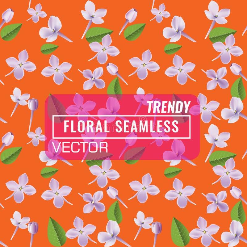 3d kwiecisty bezszwowy deseniowy tło Tekstura z Purpurową Lilą kwiatów, liścia i płatków wektoru ilustracją, ilustracja wektor
