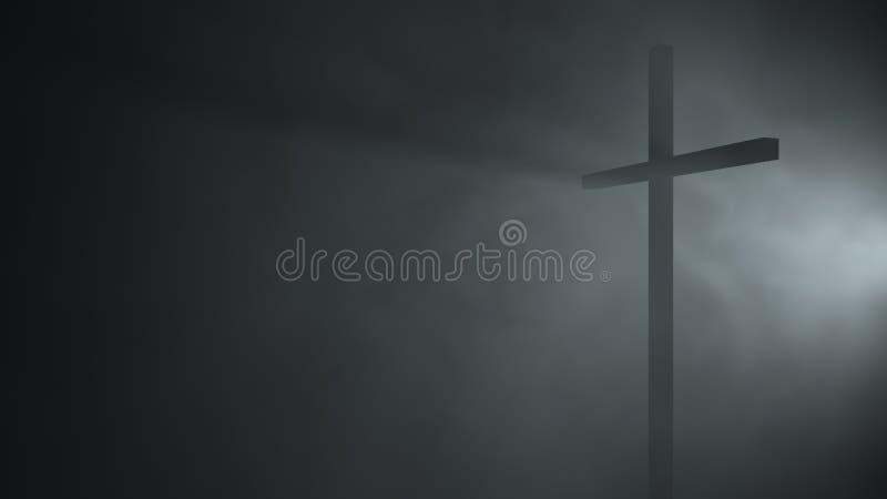3d l'illustrazione 3d che rende i cattolici cattolici lungamente attraversa la nebbia del vento di prospettiva immagini stock libere da diritti