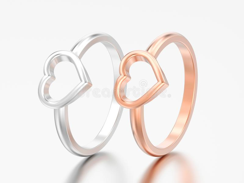 3D l'illustrazione due argenta e le nozze rosa di impegno dell'oro sentono illustrazione vettoriale