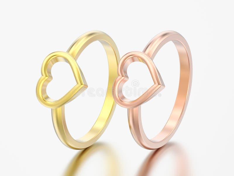 3D l'illustrazione due ingiallisce e le nozze rosa di impegno dell'oro sentono illustrazione di stock