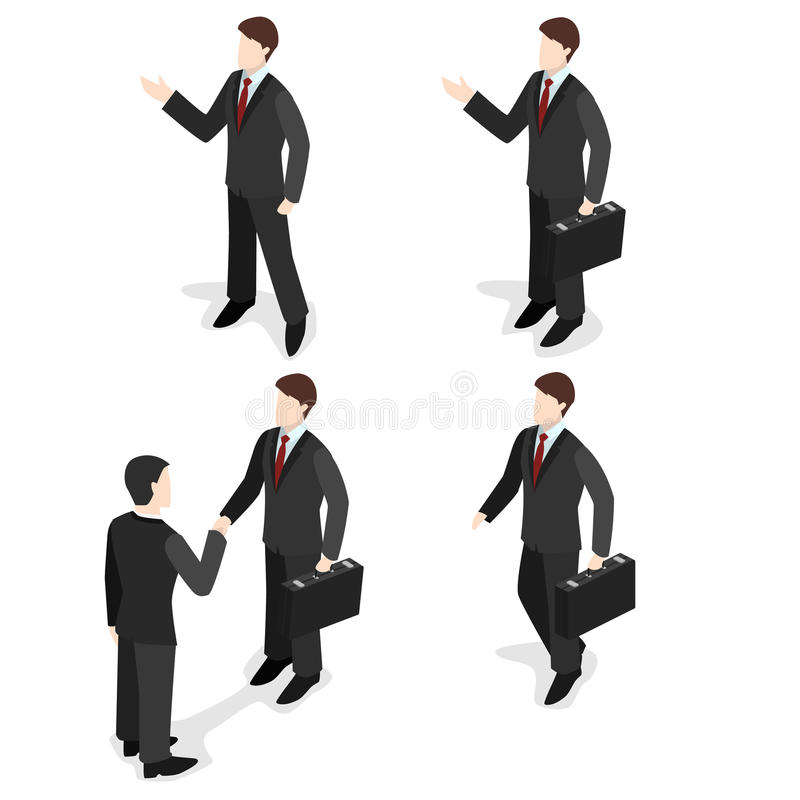3d l'insieme piano isometrico della gente di affari con le valigie, uomo d'affari va, supporti, stringe le mani illustrazione vettoriale