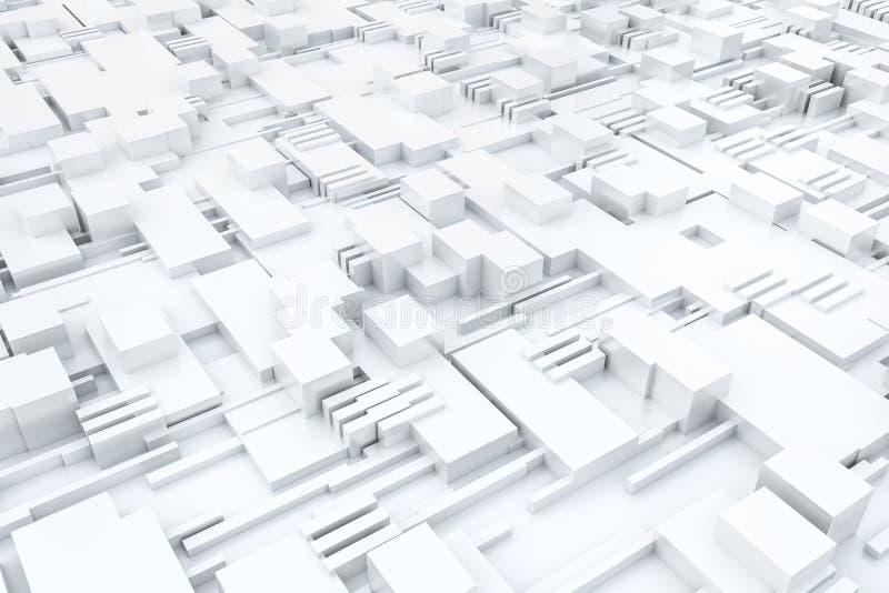 3d la representación, cubos sube a la estructura, fondo del circuito ilustración del vector