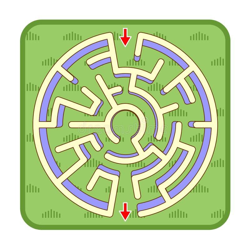 3d labiryntu gemowy odgórny widok, okrąg kształtował, zielonej trawy tło ilustracja wektor