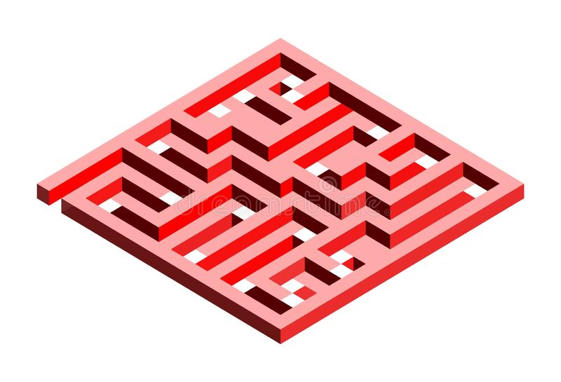 3D labyrinth in two shades of red. On a white background royalty free illustration