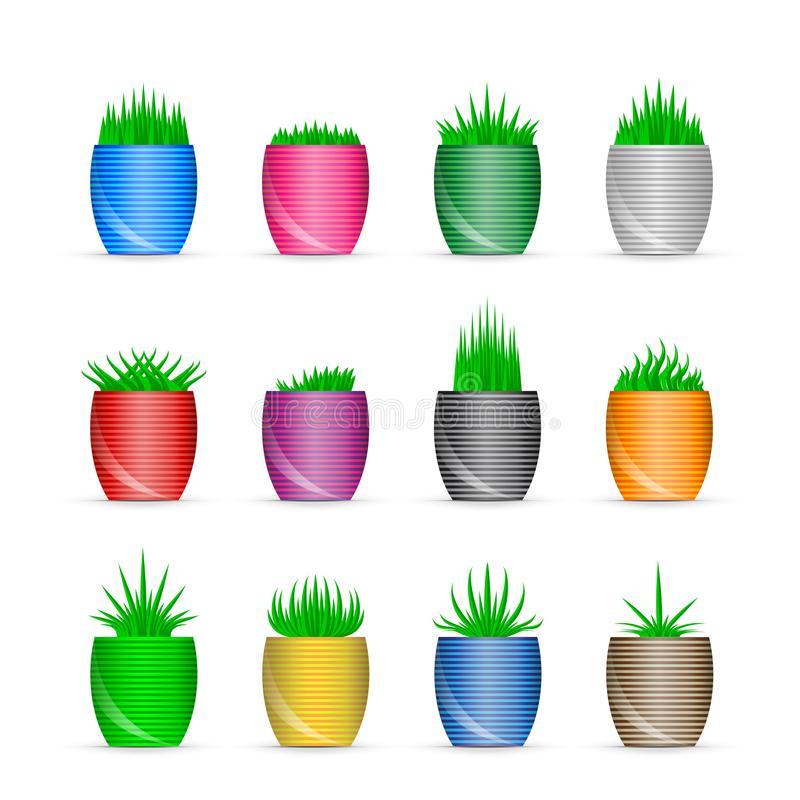 3D lagd in ny symbolsuppsättning för grönt gräs vektor illustrationer