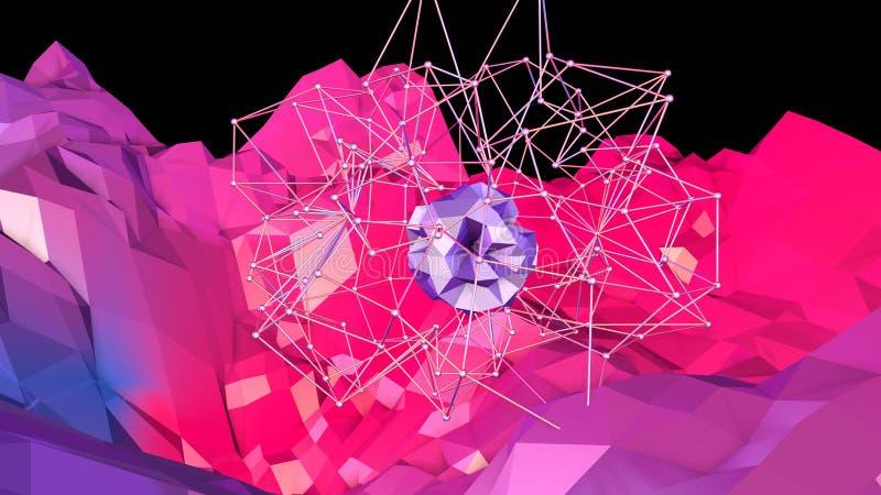 3d lage poly abstracte geometrische achtergrond met moderne gradiëntkleuren 3d kleuren van de oppervlakte blauwe rode violette gr stock illustratie