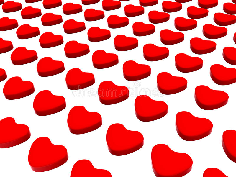 3d Laid Red Hearts Pattern stock photos
