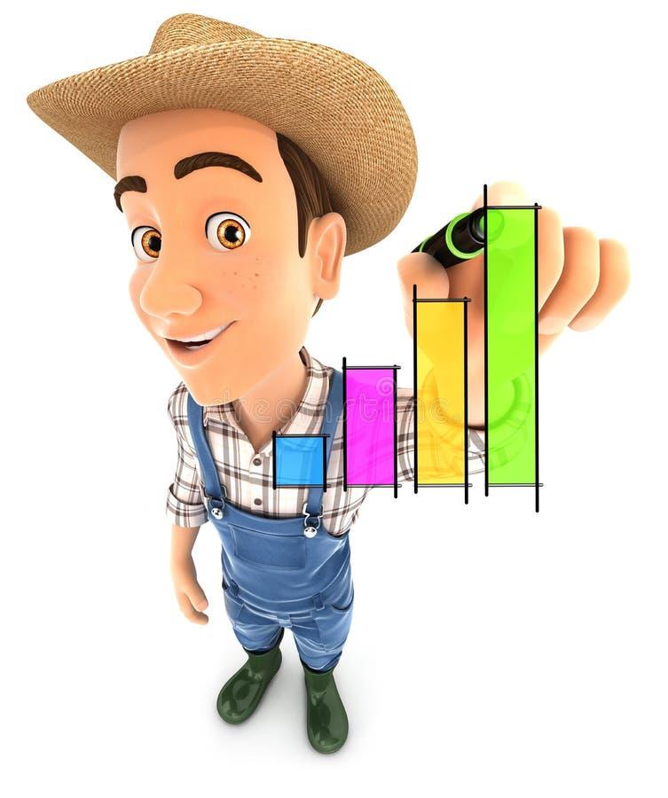 3d landbouwershand getrokken grafiek vector illustratie