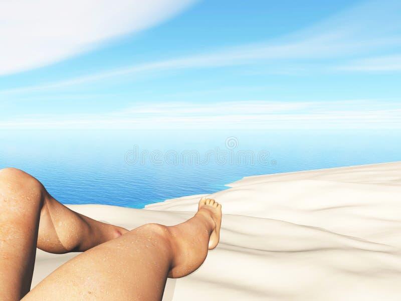 3D landschap met dichte omhooggaand van vrouwelijke benen op een zandig strand stock illustratie