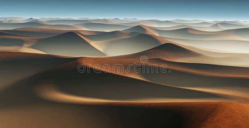 3D landschap van de Fantasiewoestijn met grote zandduinen royalty-vrije illustratie