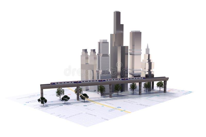 3D Landschap van de Stad vector illustratie