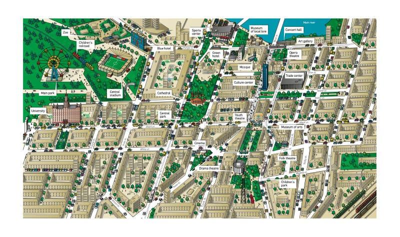 3D landschap van de stadskaart royalty-vrije illustratie