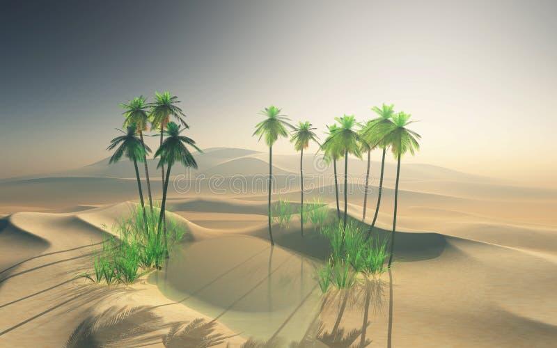 3D landschap van de woestijnoase met palmen stock illustratie