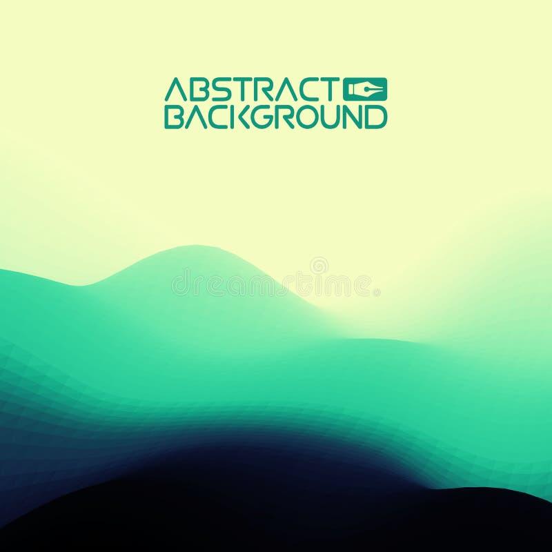 3D landschapsachtergrond groene aan blauwe Gradiënt Abstracte Vectorillustratie Computer Art Design Template Landschap vector illustratie