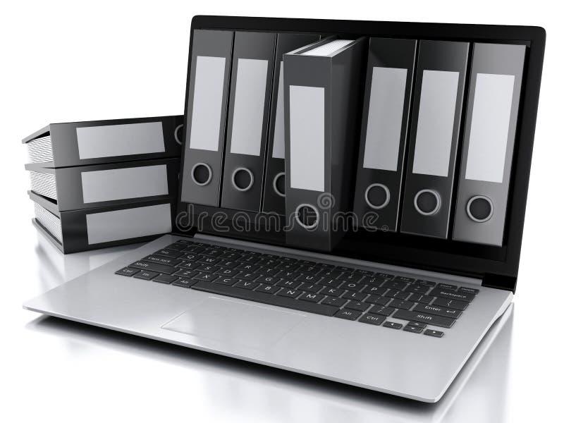 3d Laptop en dossiers Geïsoleerde witte achtergrond royalty-vrije illustratie