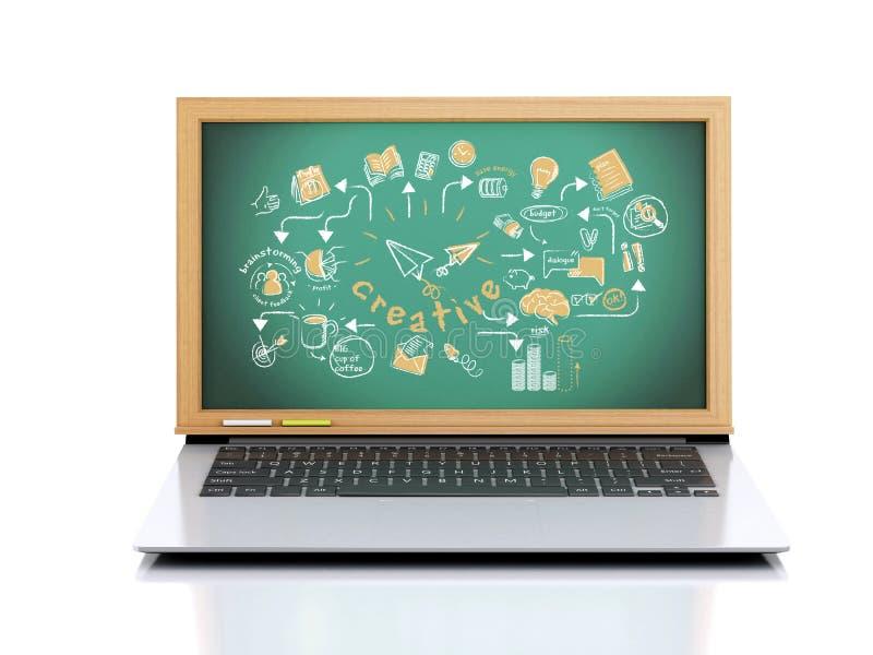 3d Laptop met creatieve schets op bord royalty-vrije illustratie