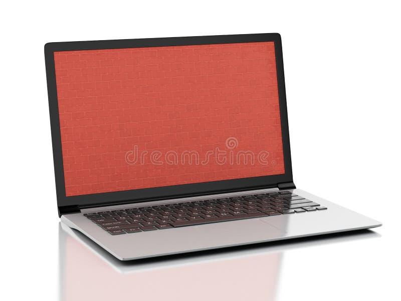 3d Laptop met het bakstenen muurscherm royalty-vrije illustratie