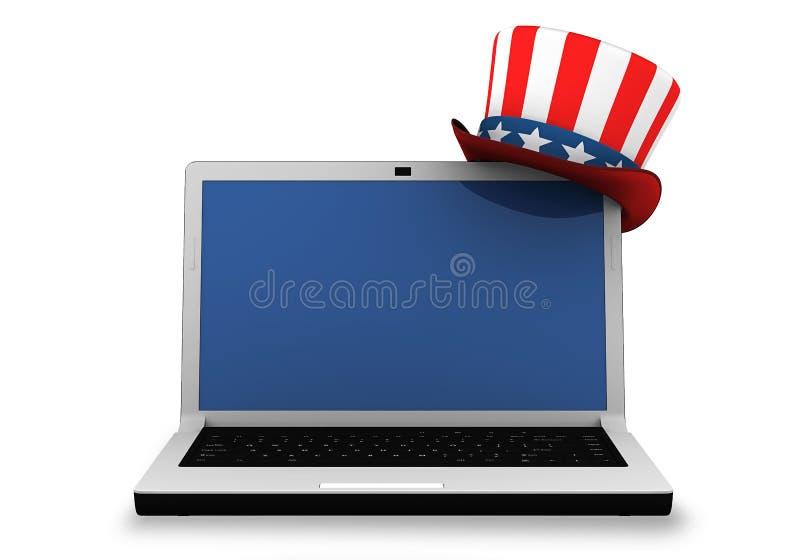 3d: Laptop met Patriottische Hoed vector illustratie
