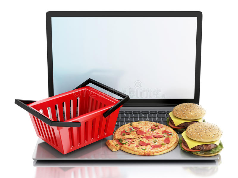 3d laptop Online en Internet-het concept van de voedsellevering royalty-vrije illustratie