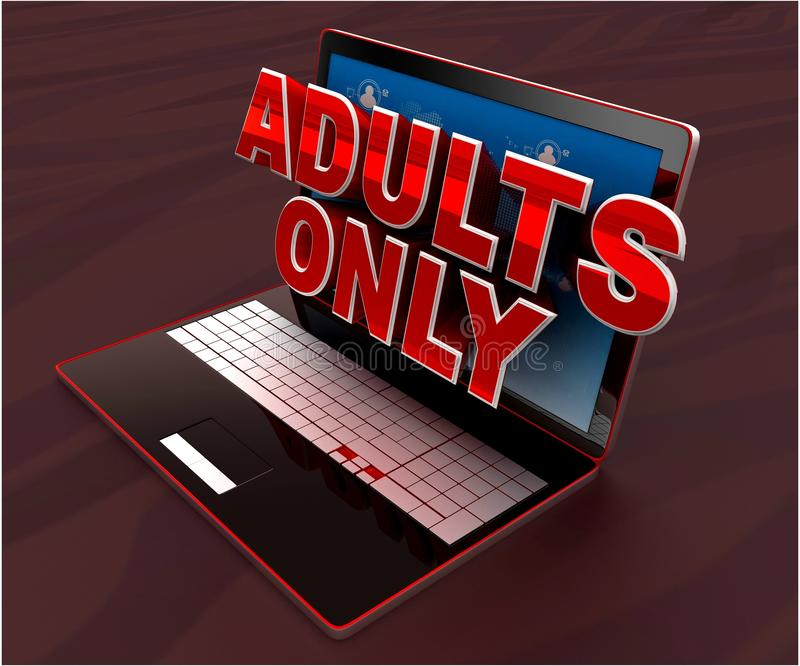 3d laptop projecting adults only text through screen concept -3d rendering. 3d laptop projecting adults only text through screen concept , top angle view stock illustration