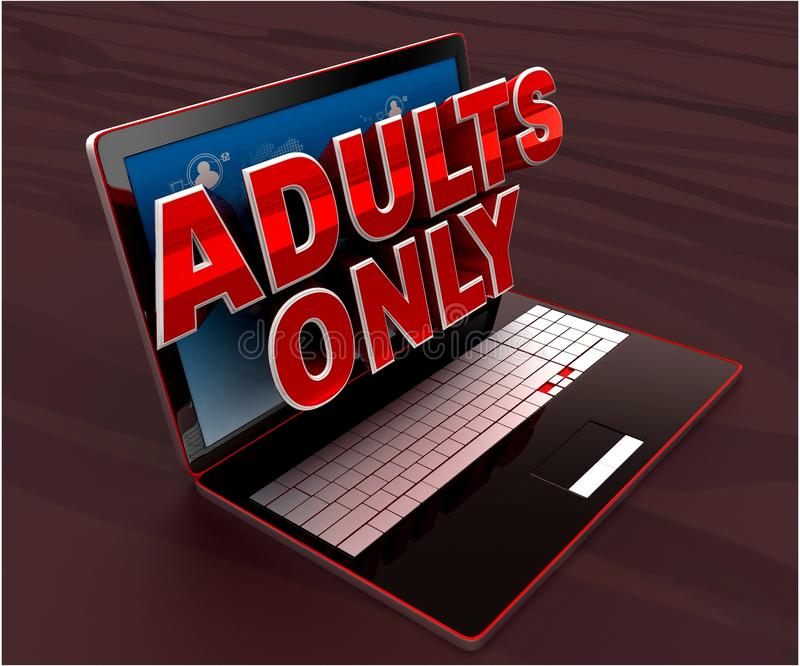 3d laptop projecting adults only text through screen concept -3d rendering. 3d laptop projecting adults only text through screen concept , side angle view royalty free illustration
