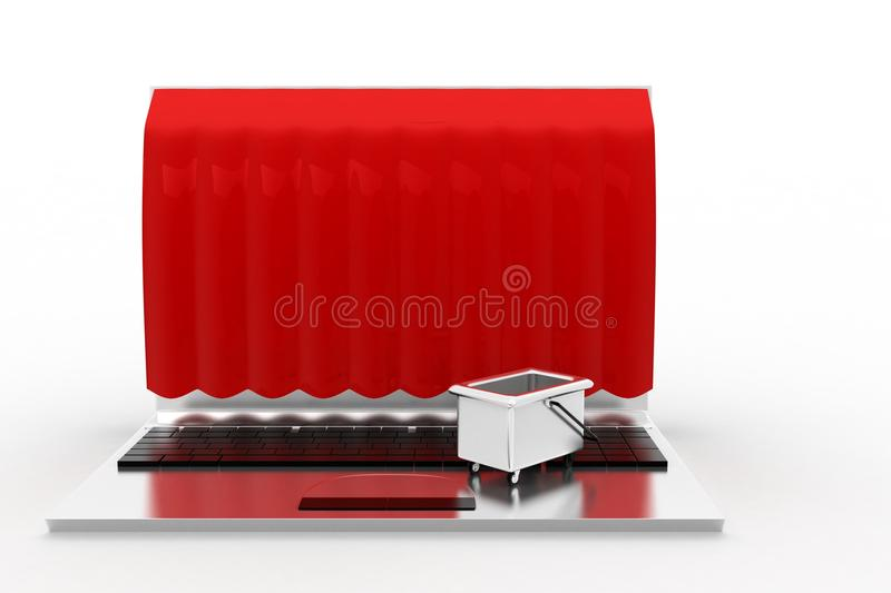 Download 3d Laptop Shop Closed stock illustration. Image of view - 43529390