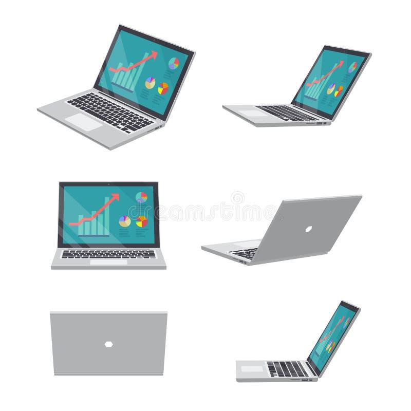 3D Laptop zaken stock illustratie