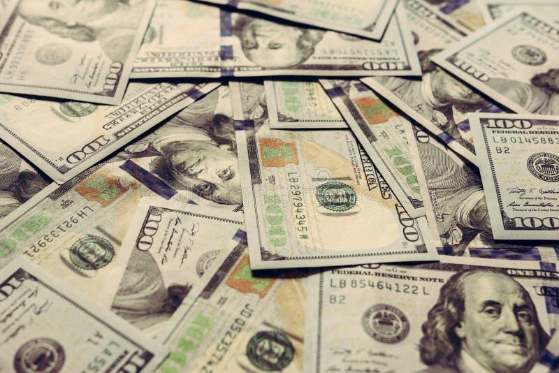 D?lares americanos en cientos billetes de banco, textura del efectivo foto de archivo