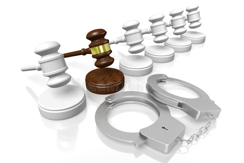 3D law, crime, verdict concept - handcuffs. Isolated on white background stock illustration